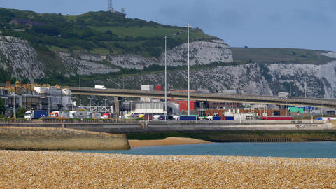 Embarking And Departing Trucks At Dover Harbor, United Kingdom - Graded Version Footage