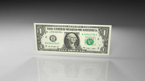 Close up of dollar banknote in rotation view on a glossy surface Animation