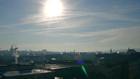 Backlit roofs and spires of old town of Prague Footage