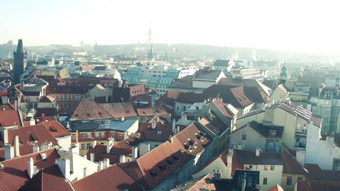 Rooftops and narrow streets of famous Old town in Prague Footage