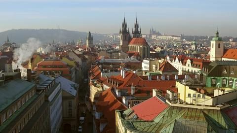 Beautiful roofs of old town Prague on a sunny day, Czech Republic Fotografía