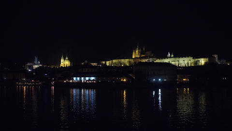Famous Prague castle at night Czech Republic Footage