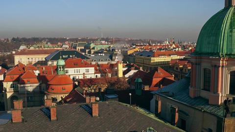 Old town of Prague and distant Prague castle Czech Republic Footage