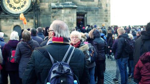 PRAGUE, CZECH REPUBLIC - DECEMBER 3, 2016. Senior couple in glasses making Footage