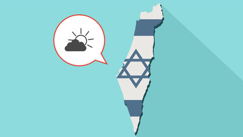 Animation of a long shadow Israel map with its flag and a comic balloon with a 애니메이션