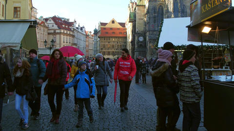 PRAGUE, CZECH REPUBLIC - DECEMBER 3, 2016. 4K steadicam shot of crowded Old town Footage