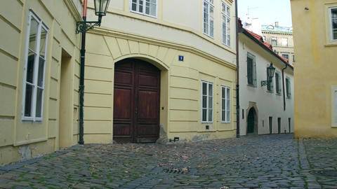Narrow cobblestone paved empty street Footage