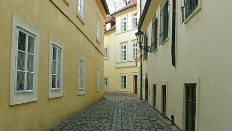 Very narrow cobblestone paved empty street Footage