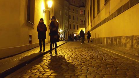 PRAGUE, CZECH REPUBLIC - DECEMBER 3, 2016. Steadicam shot of evening cobblestone Footage