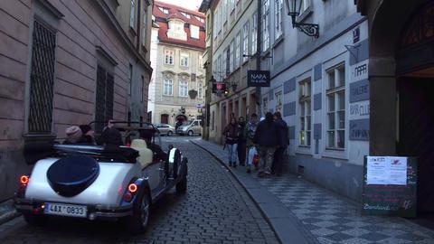 PRAGUE, CZECH REPUBLIC - DECEMBER 3, 2016. 4K steadicam shot of city tour retro Footage