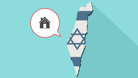 Animation of a long shadow Israel map with its flag and a comic balloon with a Image