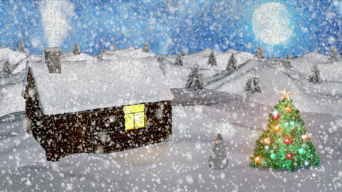 Abstract Loopable Background with nice snow and christmas trees Image
