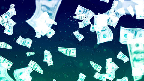 Flying Dollars. Abstract Loopable Background Animation