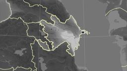 Azerbaijan and neighborhood. Grayscale Animation