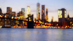 Defocused view New-York City downtown from Brooklyn Filmmaterial