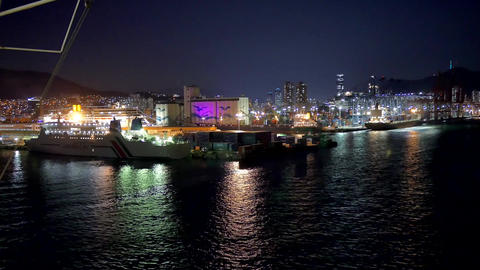 night shot of busan port from cruise Footage