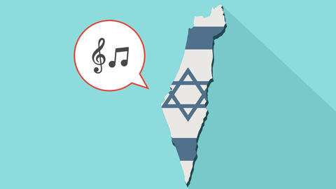 Animation of a long shadow Israel map with its flag and a comic balloon with g Animation