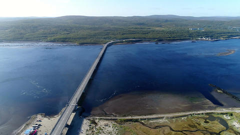 View of the Kola Bay and the bridge from the air Footage