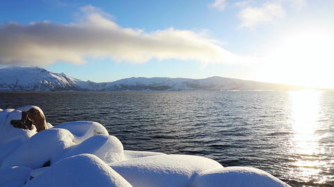 Sunny Winter in the Fjord Footage