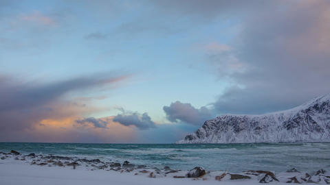 Changing Weather in Winter Norway. Time Lapse Live Action