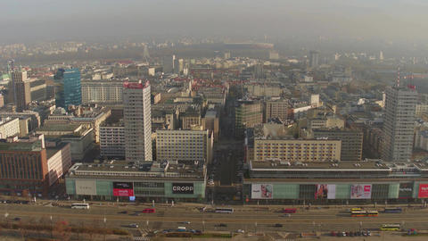 WARSAW, POLAND - NOVEMBER, 26, 2016. Shopping mall, bus and car parking on a Footage