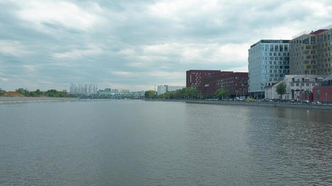 Moscow river within industrial area and two flying gulls ビデオ