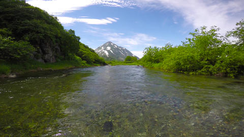 The mouth of the Larch river. Sea Safari journey along the Kamchatka Peninsula Footage