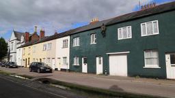 Coloured houses Castle St Tiverton Devon UK Archivo