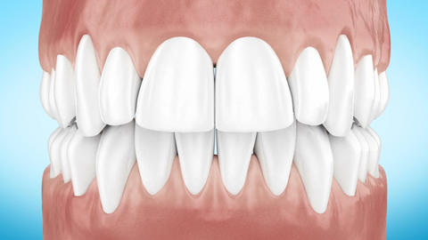Beautiful White Clean Teeth Zoom Close Up 3d Animation. Alpha Channel. Full HD Animation