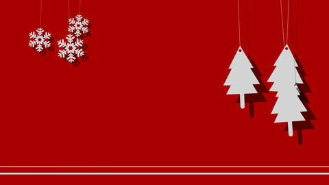 Vector Christmas Background of Trees and Snowflakes on a String Footage