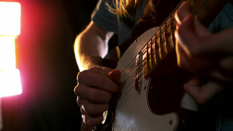 Close up of man playing electric guitar Footage