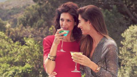 Attractive women having a drink outdoor ビデオ