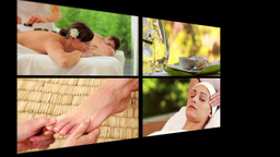 Collage of people receiving massage Animation