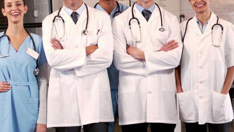 Smiling medical team standing together Footage
