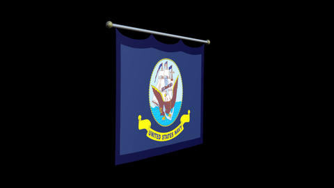 Dropping Rolled Banner US Navy Flag RGB Alpha Animation