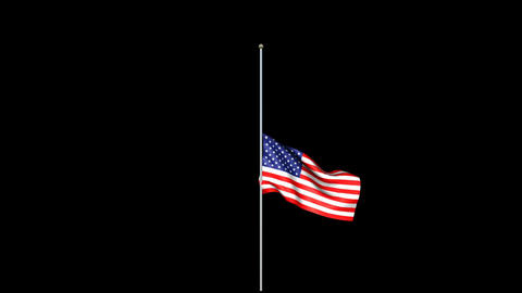 Raise Flag America RGB Alpha Animation