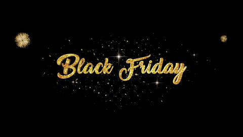 Black Friday golden greeting Text Appearance from blinking particles fireworks Animation