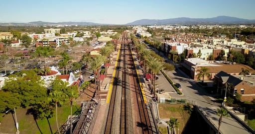 Aerial view of train station in fullerton Filmmaterial