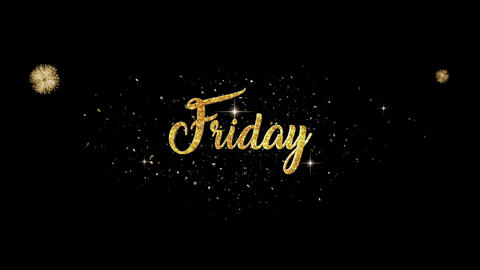 Friday Beautiful golden greeting Text Appearance from blinking particles Animation
