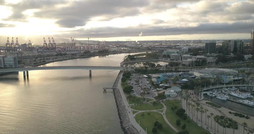 Long Beach habor with bridge and water Footage
