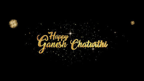 Ganesh Chaturthi golden greeting Text Appearance blinking particles fireworks Animation