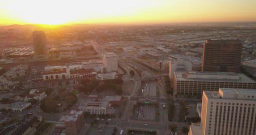 Aerial view of DTLA at sunrise ビデオ