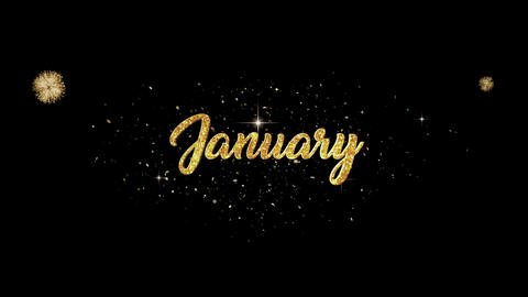 January golden greeting Text Appearance from blinking particles fireworks Animation