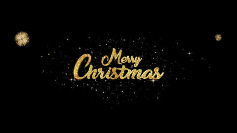 Merry Christmas golden greeting Text Appearance blinking particles fireworks Animation