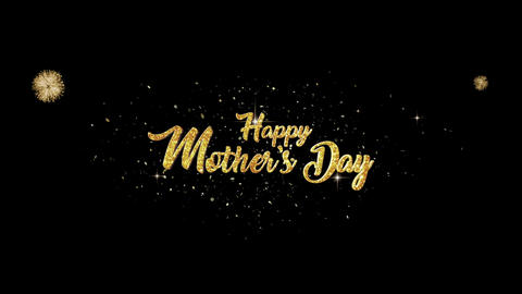 Mothers Day golden greeting Text Appearance from blinking particles fireworks Animation