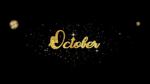 October golden greeting Text Appearance from blinking particles fireworks Animation