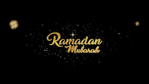 ramadan mubarak greeting Text Appearance from blinking particles fireworks Animation