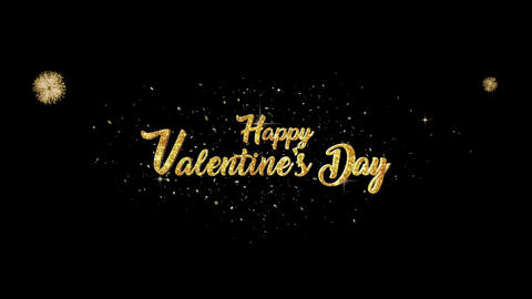 Valentine Day golden greeting Text Appearance from blinking particles fireworks Animation