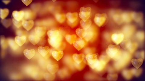 Flying Golden Hearts, Abstract Loopable Background Image