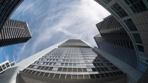 Commerzbank skyscraper bottom-view time-lapse shot with fish-eye wide angle lens Footage